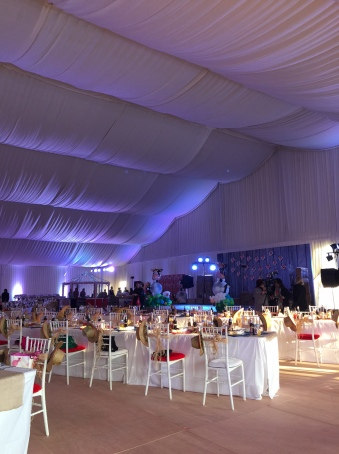 Inside the birthday tent